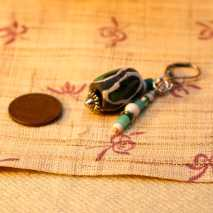 African trade bead earrings, green - $15