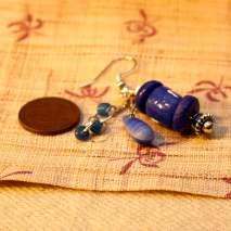 African trade bead earrings, blue - $15