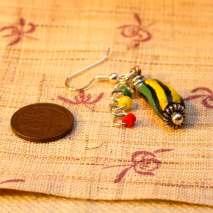 African trade bead earrings, Jamaican flag - $15