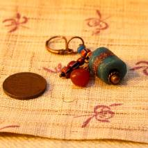 African trade bead earrings, blue and brown - $15
