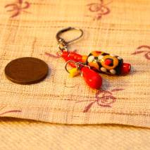 African trade bead earrings, red - $15