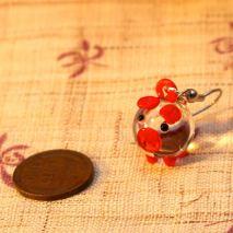 Glass pig earrings, red – $6