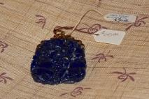 Lapis Lazuli, carved, 14k, front detail