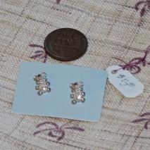 Teeny tiny teddy bear earrings, silver.