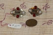 "Agate and ""ruby"" earrings, not pierced."